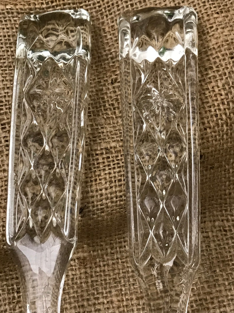 Glass Fork and Spoon Pressed Glass Salad Set West German Set Christmas Table or Gift