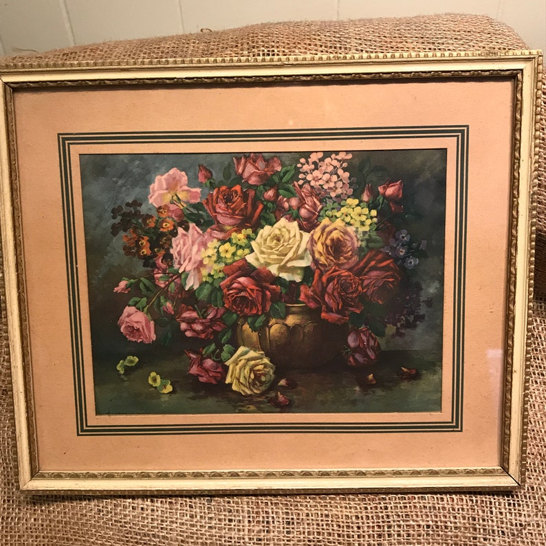 Rose Picture In Ornate Golden Frame Dolls House Miniatures Home Decor Framed