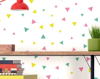 Tricolor Triangles Wall decor / Mint Yellow Pink