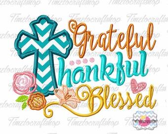 Grateful Thankful Blessed Thanksgiving Embroidery Applique Design, dst, exp, hus, jef, pes, sew, vip, vp3, Formats Digital INSTANT DOWNLOAD