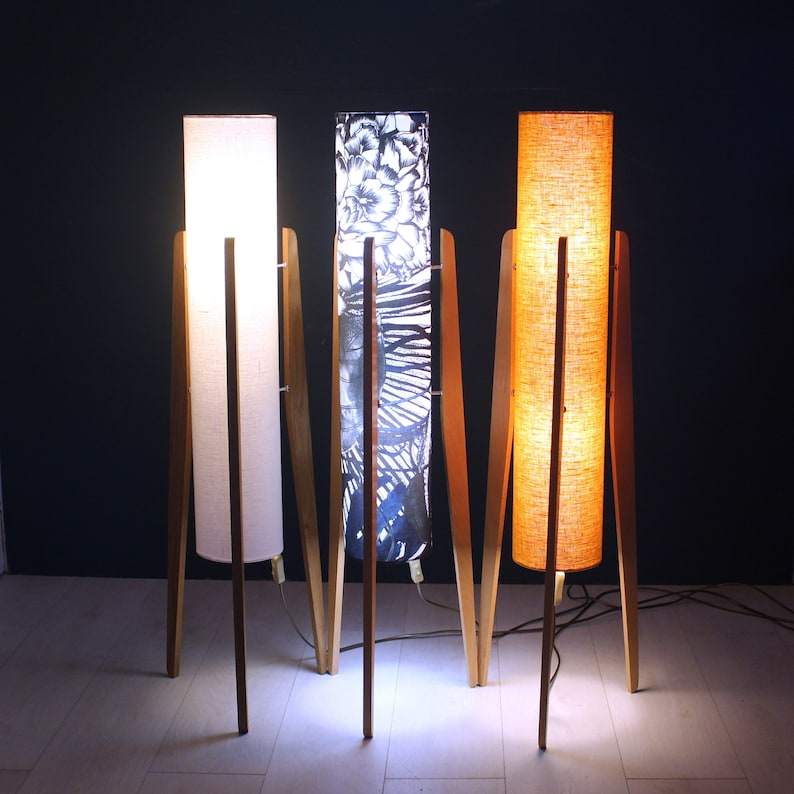 Handcrafted Rocket Lamp with Vintage Patterned Silk Shade on Reclaimed Hardwood Legs