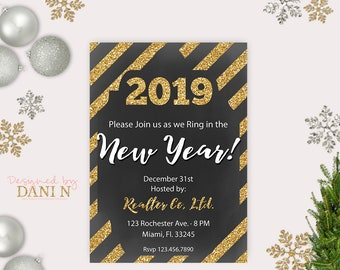 new years eve party invitation new year decoration new years invitation stripes holiday new year card nye invites new year wedding