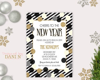 new years eve party invite 2018 holiday invitation polka dots holiday gold glitter black stripes party printable diy happy new year