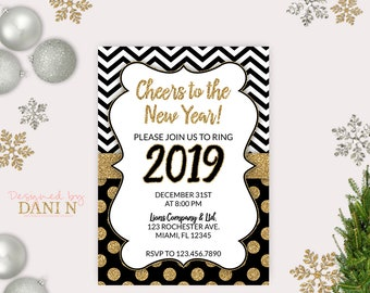 new years eve party invite 2018 holiday invitation cheers for the new year gold glitter black party printable diy happy new year