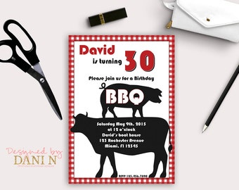 BBQ 30th Birthday Party Adult Invitations 40th Invite 50th Cow And Pig Grill Bbq Printable Diy