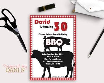 BBQ 30. Geburtstags Party, Erwachsene Einladungen, 40 Geburtstag Einladen,  50. Party, Kuh Und Schwein Grill Laden, Bbq Grill Party, Druckbare Diy