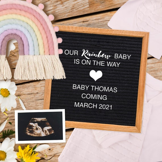 Rainbow Baby Pregnancy Announcement Social Media Baby Reveal Digital Baby Announcement Instagram Board Announcement Rainbow Baby By Designed By Danin Catch My Party