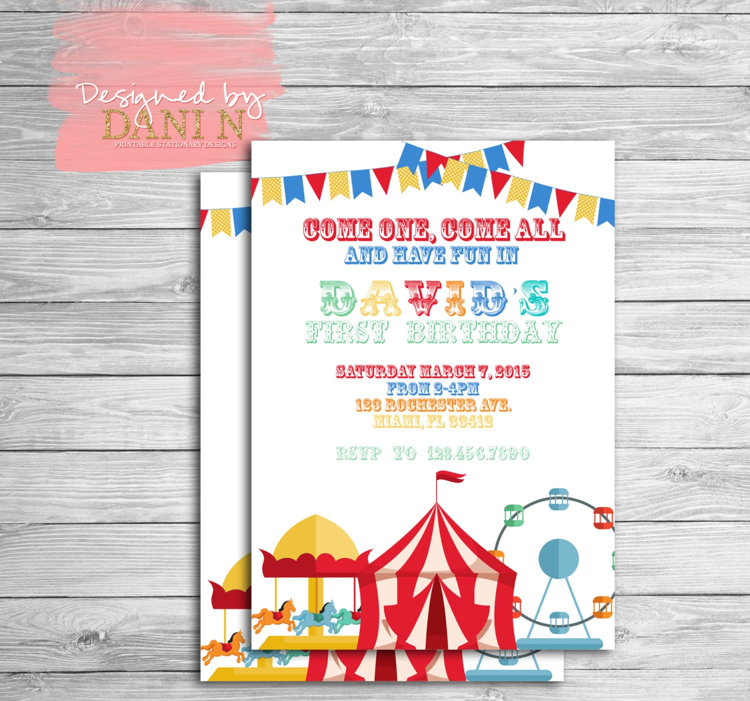 Circus Birthday Invitation. Carnival Party Invite. Carrousel | Etsy