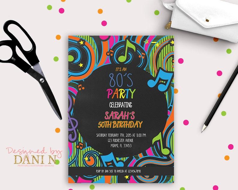 80 s Birthday Invitation Disco party Neon Birthday  0d7b157870d