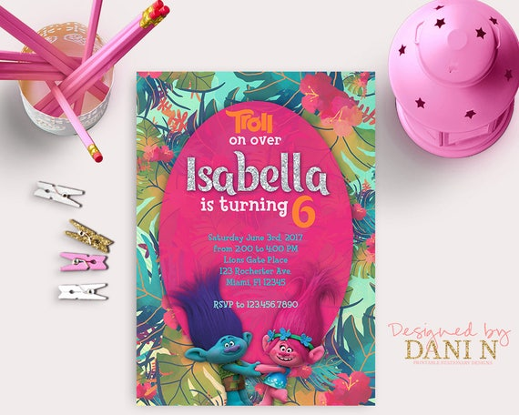 Trolls Birthday Invitation Poppy Pink Party Troll Invites Dreamworks Kids Invite Printables