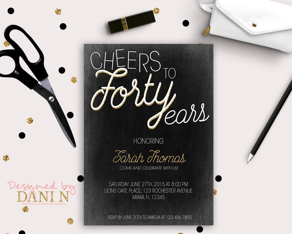 40th Birthday Invitation Elegant Black And Gold Invite Vintage Chic 50 Party 60 Printable DIY Adult