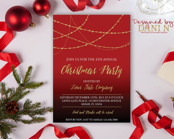 christmas party invitation red black gold holiday etsy