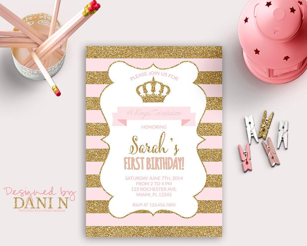 Princess INVITATION First Birthday Party gold glitter | Etsy