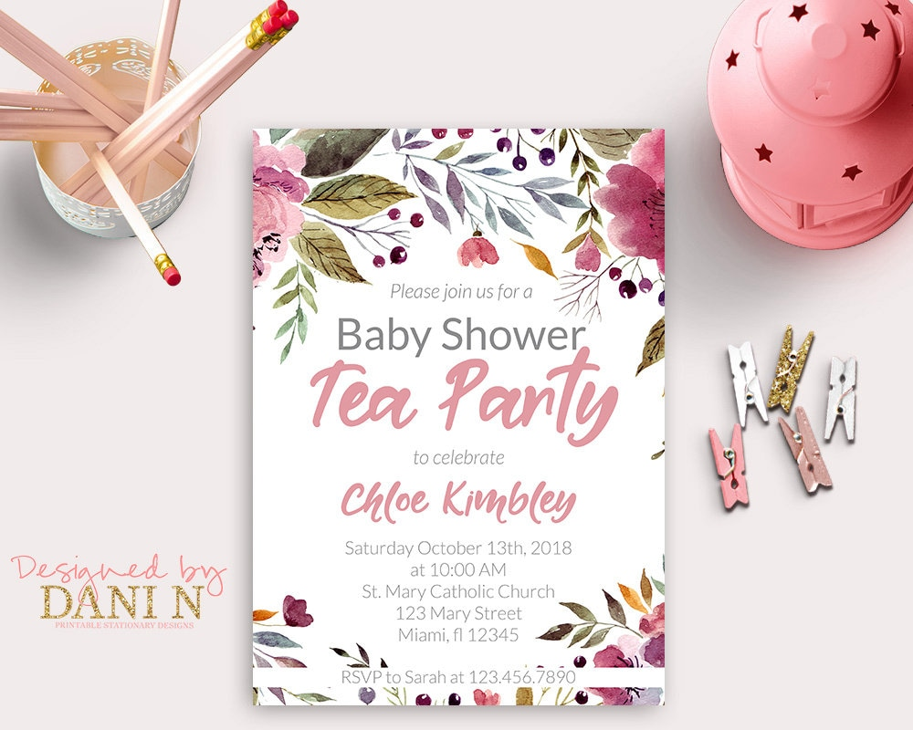 Tea Party Baby shower invite Floral Pink shower invitation | Etsy