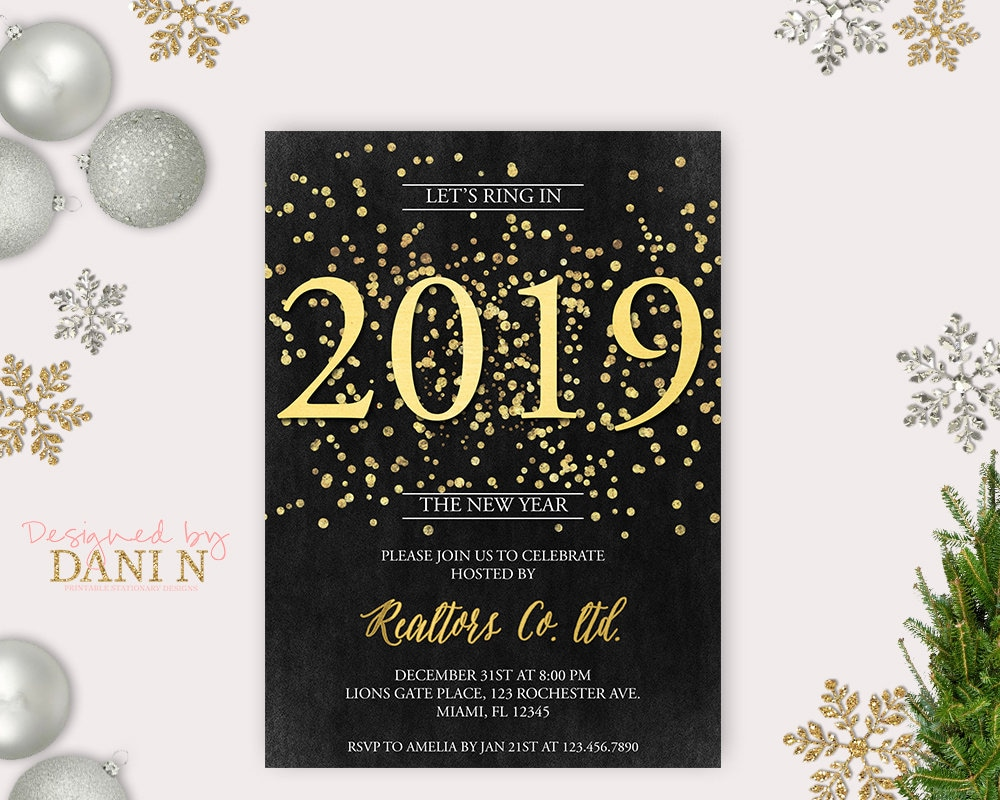 New Years Eve Party Invitation Chalkboard 2019 Holiday Party Etsy