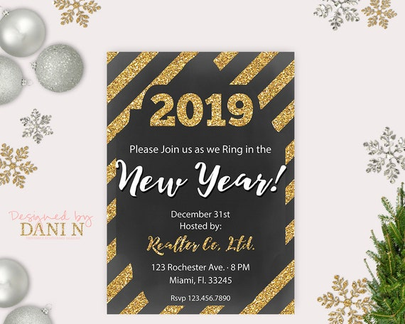 New Years Eve Party Invitation New Year Decoration New Years