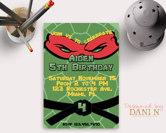 picture about Ninja Turtles Invitations Printable referred to as Ninja turtle Birthday Invitation, Ninja celebration, Teenage