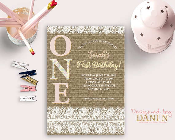 lace and burlap birthday party invitation first birthday printable