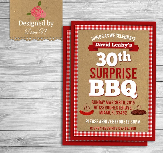 Adult Birthday INVITATION BBQ Surprise 30th Birthday
