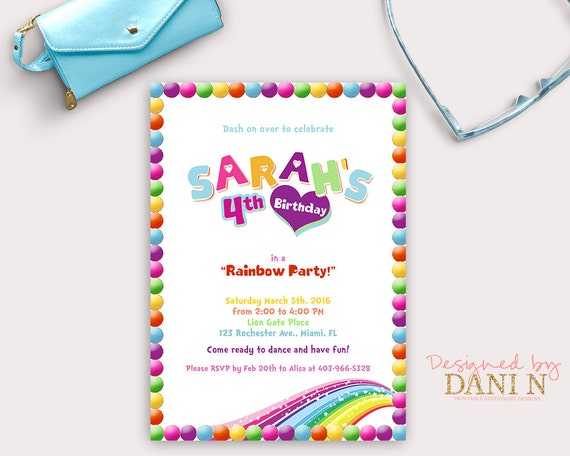 Rainbow Birthday Invitation Magical Invite Dash Star And Rainbows Colorful Party Printable DIY Pink Purple Blue