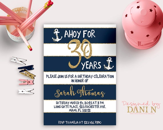 Nautical Birthday INVITATION 30th Gold Glitter Invite Any
