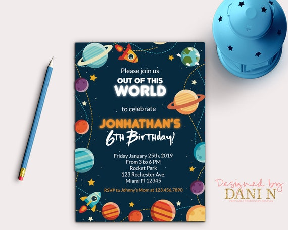 Space Party Invite Rocket And Planets Birthday Invitation Blast