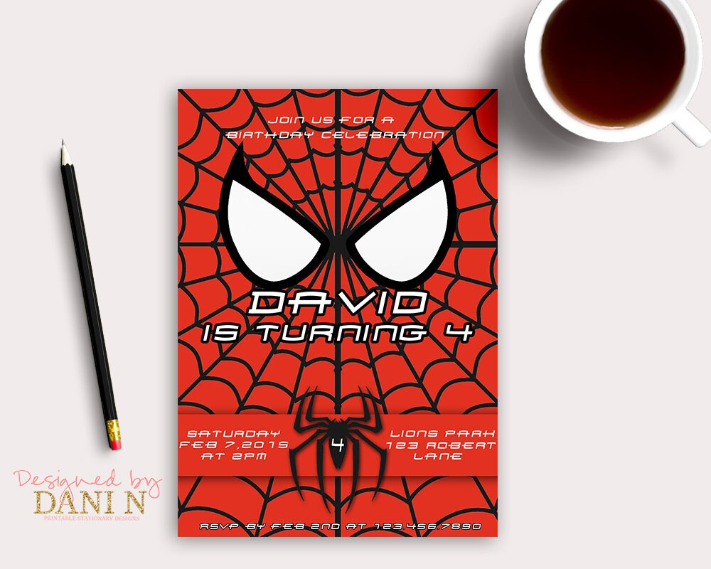Spiderman Birthday Invitation Superheroes Spider Man Party | Etsy