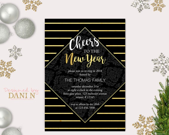 New Years Eve Party Invitation Gold Stripes 2018 Holiday Party
