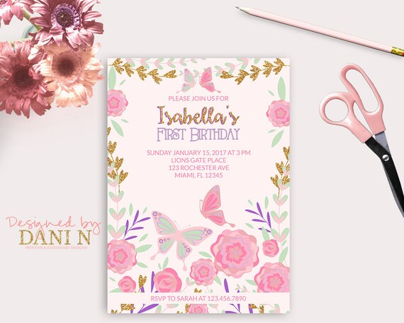 Garden Birthday Invitation 1st Butterfly Invite Pink And Purple Party Floral Tea Glitter