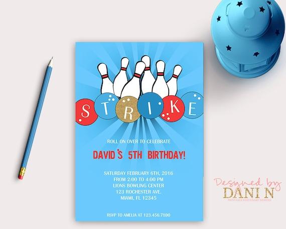 Zaproszenie Do Gry W Kręgle Bowling Urodziny Zaproszenie Etsy