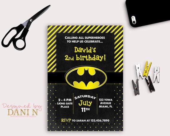 Batman Birthday Party Invitation Black And Yellow Printable Invite