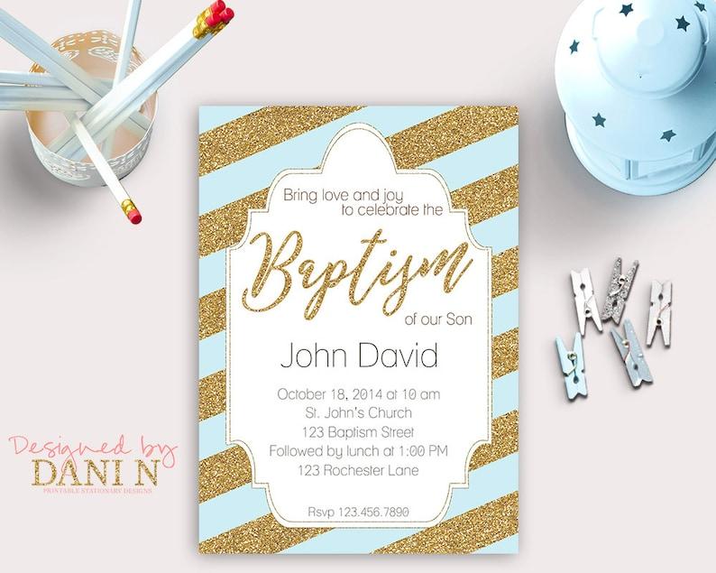 Gold And Blue Baptism Invitation Christening Catholic Bautizo Espanol English Boy Invite Elegant Party