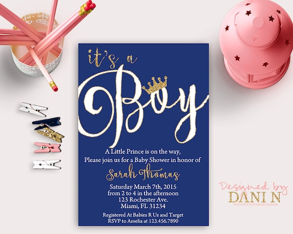 Baby shower invitation prince gold and navy baby shower little il570xn filmwisefo