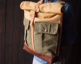 Canvas backpack bags, leather bags ruscksack, travel large backpacks, canvas school rucksack, MacBook, laptop bags
