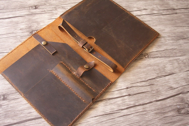 22f92a8ba554 Personalized Leather Portfolio Legal A4 Padfolio Travel