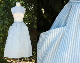 1980s Pale Blue & White Striped Deadstock Midi Skirt // 80s Summer Skirt with Pockets