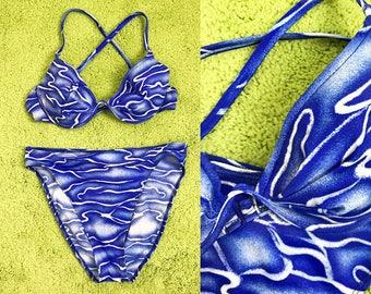 1980s 1990s Blue and White Underwire High Waisted Bikini // 80s 90s High Cut Bikini and Halter Top Swimsuit