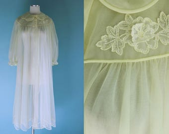 be2e9c56af 1960s Sheer Yellow Robe    60s Sheer Yellow Peignoir House Robe