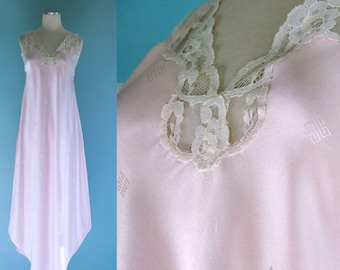 79c49b2f95 1980s Givenchy Pale Pink and White Lace Nightgown    80s Blush Pink Nightie  with Lace Detail