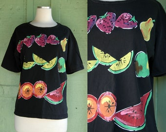 585fac93ad7 1980s 1990s Black T shirt with Fruit Print    80s 90s Strawberry Pear Apple  Watermelon Orange Lemon Lime