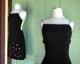f2fdf624cfc3e 1990s Slinky Black Grunge Mini Dress with Colorful Buttons // 90s Goth  Summer Open Back Mini Dress