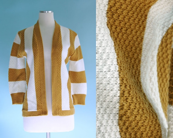 1960s Golden Mustard Yellow White Striped Cardigan Sweater Etsy