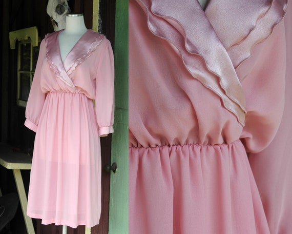 1970s 1980s Dusty Rose Pink Shirt Dress // 70s 80s