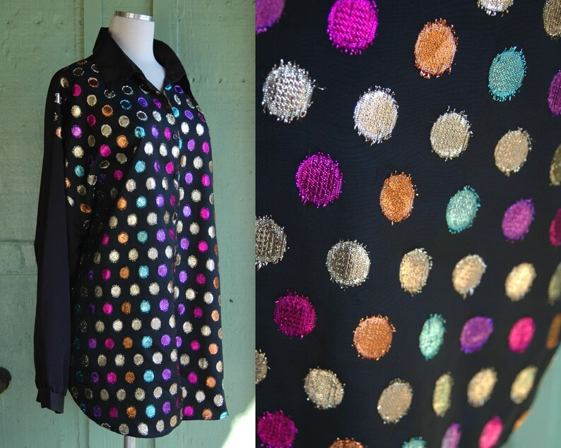 4a8983cb09fc5 1980s Multi Color Metallic Polka Dot Blouse    80s Jeri Marque