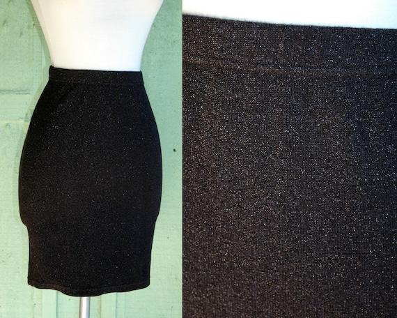 Charcoal Grey Wool Silver Metallic Mini Skirt by M