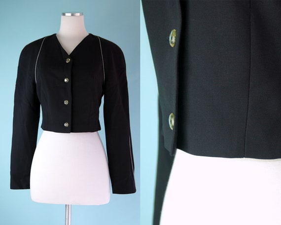 1990s Navy Escada Cropped Blazer with Black and Wh