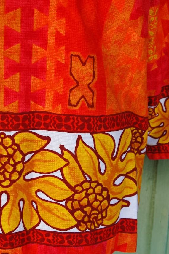 1960s Red Orange Yellow Tropical Hawaiian Print T… - image 5