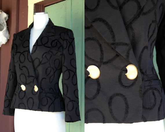 1990s Black Hourglass Cropped Blazer with Gold But
