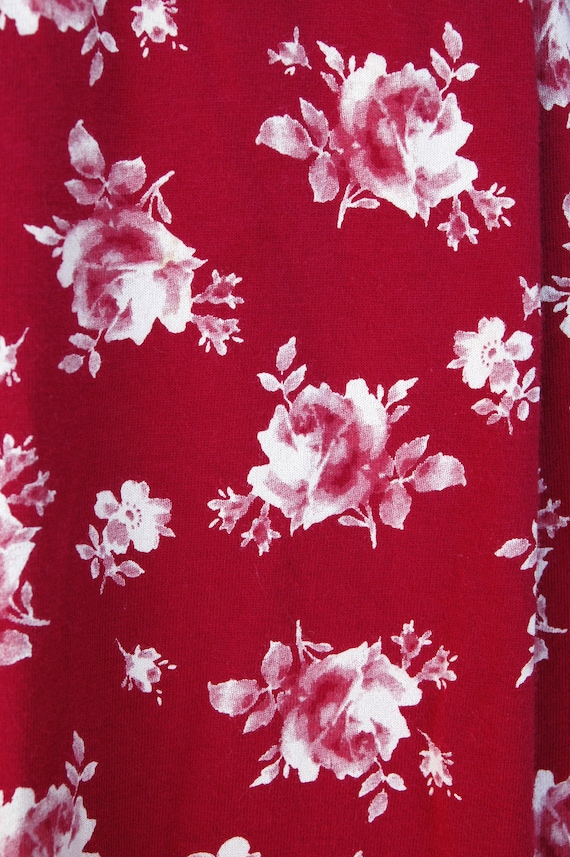 1990s 2000s Red and White Rose Print Laura Ashley… - image 6