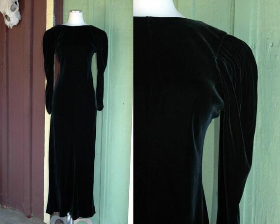 1940s Black Velvet Hollywood Starlet Glamour Gown